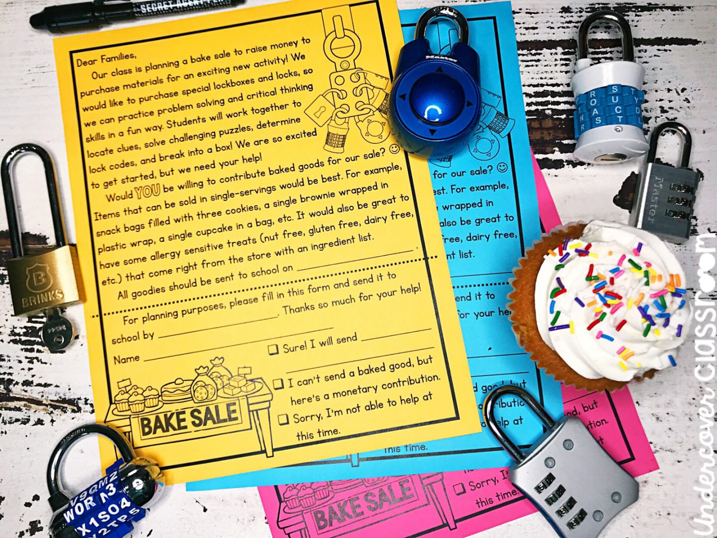 Get free locks for your lockbox with this free sample letter for a bake sale.