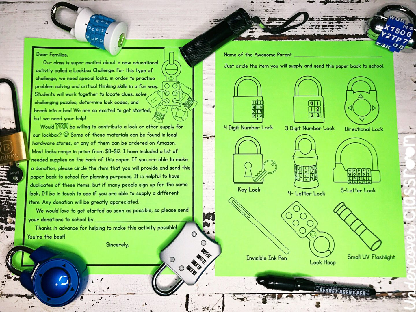 Get free locks for your lockbox with this free letter that you can send home to parents.