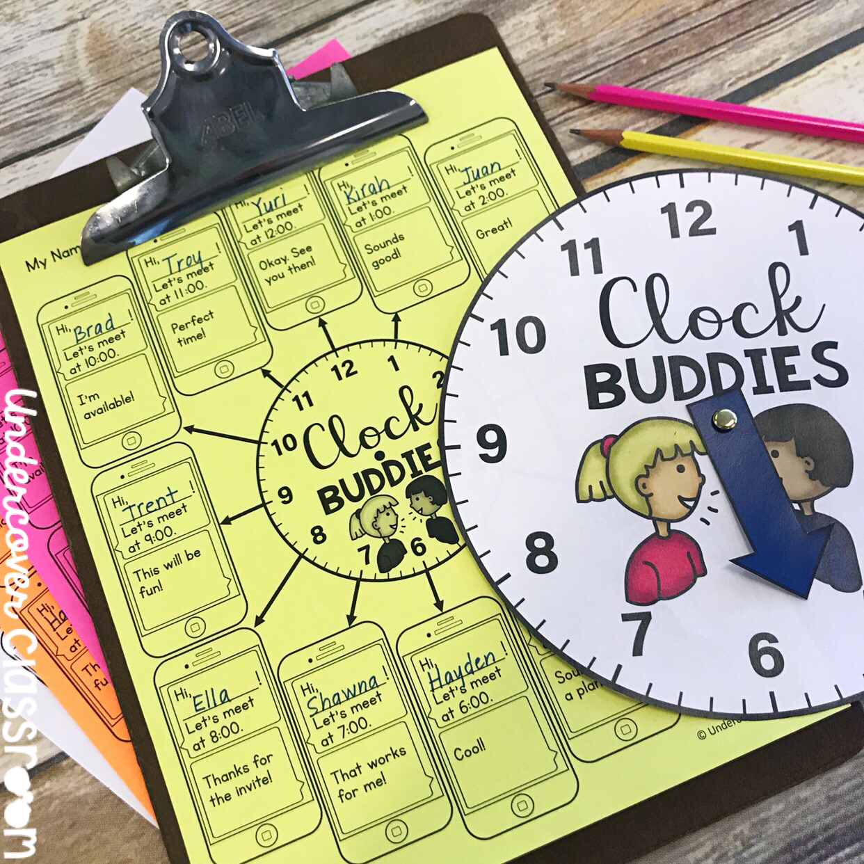 "Use this ""Clock Buddies"" system to partner your students during a lesson."